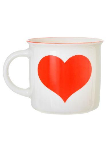 Cana ceramica - Red Love Heart