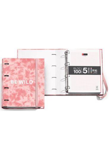 Caiet mecanic A4 cu 100 file matematica Tie Dye Pink