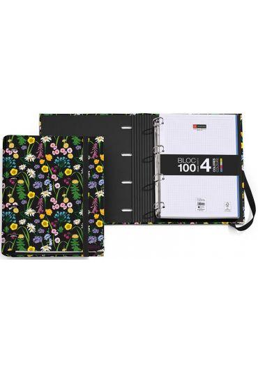 Caiet mecanic A4 cu 100 file matematica Wild Flowers
