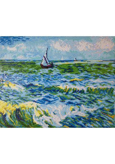 Tablou cu diamante - Peisaj marin la Saint Maries (Van Gogh)