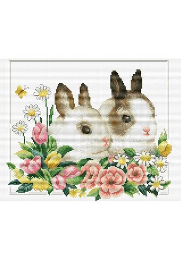Set goblen imprimat cu ata si ac - Iepurasi printre flori