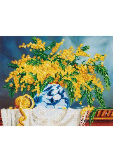 Tablou cu diamante - Vaza cu flori galbene