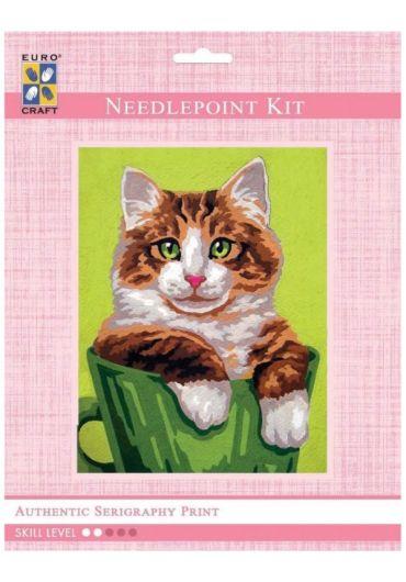 Set goblen imprimat cu ata si ac - Pisica in ghiveci