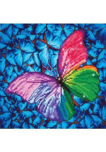 Tablou cu diamante - Fluture colorat