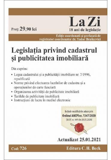 Legislatia privind cadastrul si publicitatea imobiliara. Actualizat 25.01.2021