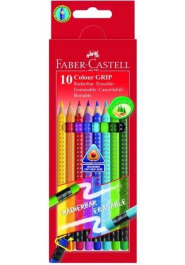 Creioane colorate 10 culori Grip cu radiera
