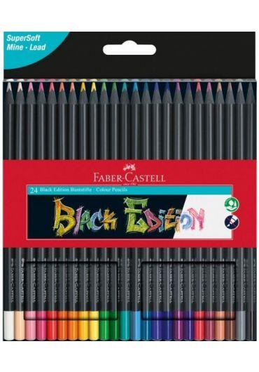 Creioane colorate 24 culori Black Edition
