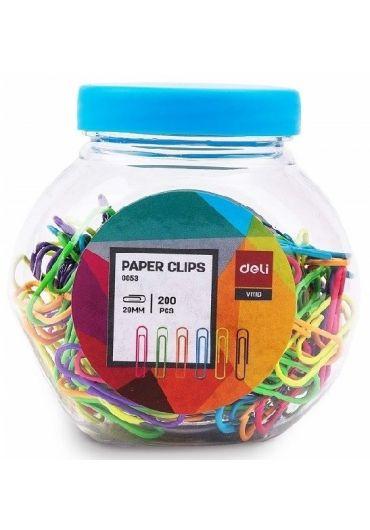 Borcan plastic cu 200 agrafe metal colorate 29mm
