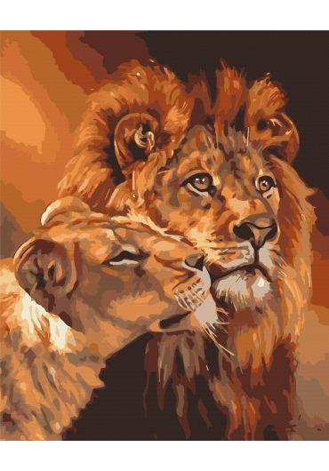 Set Picturi pe numere, Acuarello, 40X50 cm - Lion Love