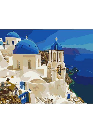 Set Picturi pe numere, Acuarello, 40X50 cm - Santorini Blue