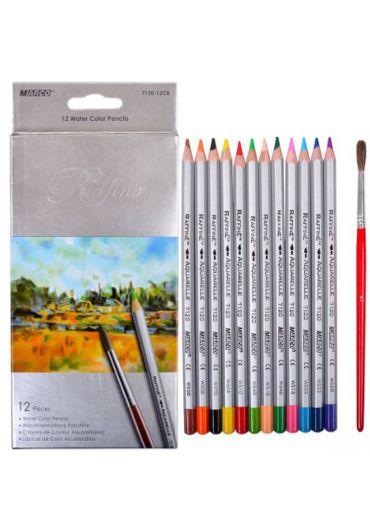 Creioane colorate 12 culori, acuarele cu pensula Marco Raffine 7120-12CB