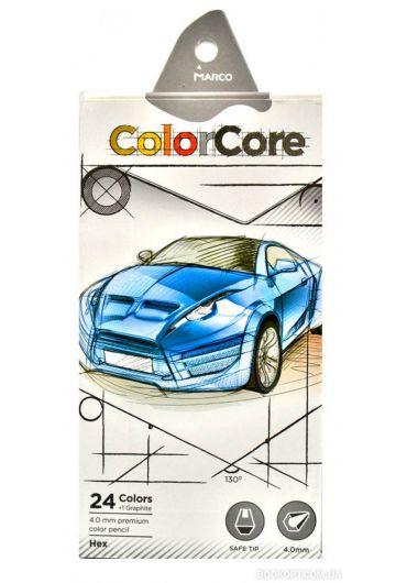 Creioane colorate 24 culori MarcoColor Core + 1 creion grafit 3100-24CB