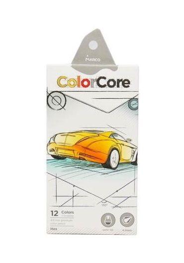 Creioane colorate 12 culori MarcoColor Core + 1 creion grafit 3100-12CB