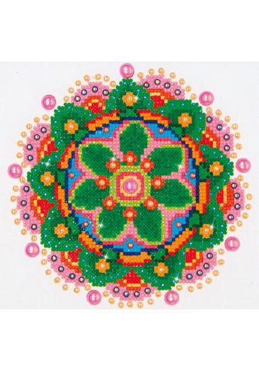 Tablou cu diamante - Mandala multicolora