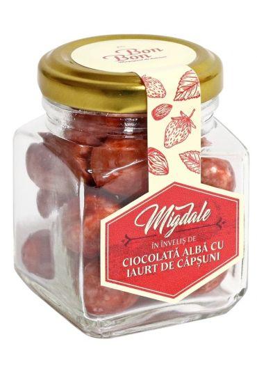 Borcan Bonbon - Migdale in invelis de ciocolata alba cu iaurt de capsuni