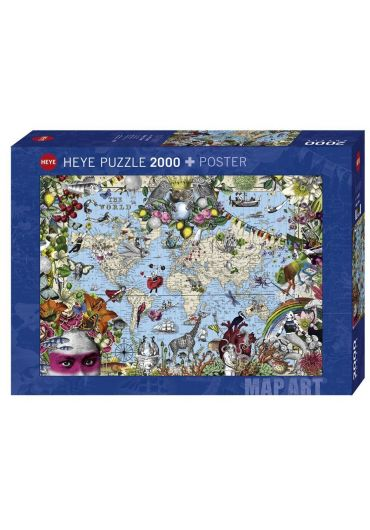 Puzzle 2000 piese Map Art, Quirky World