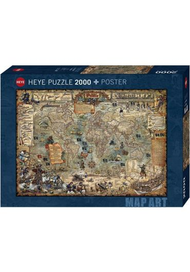 Puzzle 2000 piese Map Art, Pirate World