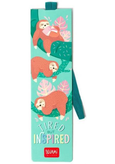 Semn de carte cu elastic - Tired Sloth
