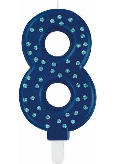 Lumanare aniversara Maxi - Cifra 8 - Blue