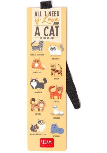 Semn de carte cu elastic - Love and Cats