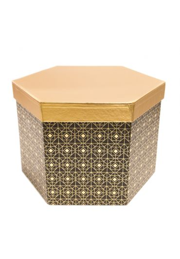 Cutie cadou hexagonala 22x15 cm, capac auriu, Noir