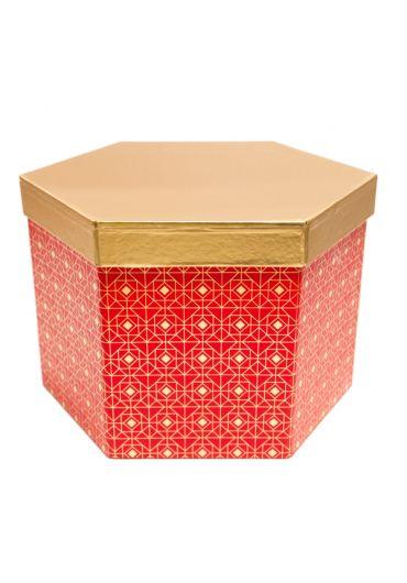 Cutie cadou hexagonala 22x15 cm, capac auriu, Rouge