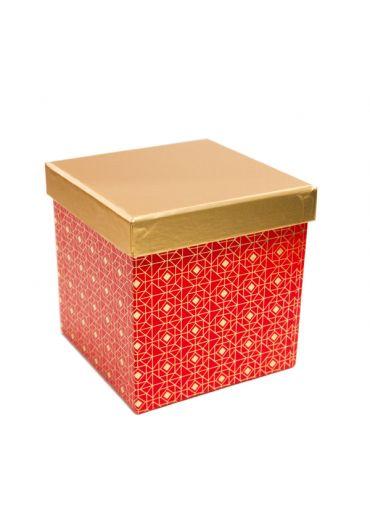 Cutie cadou patrata 13x13 cm, capac auriu, Rouge