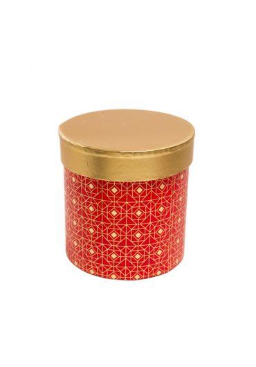 Cutie cadou cilindrica 12x12 cm, capac auriu, Rouge