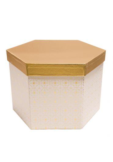 Cutie cadou hexagonala 22x15 cm, capac auriu, Blanc