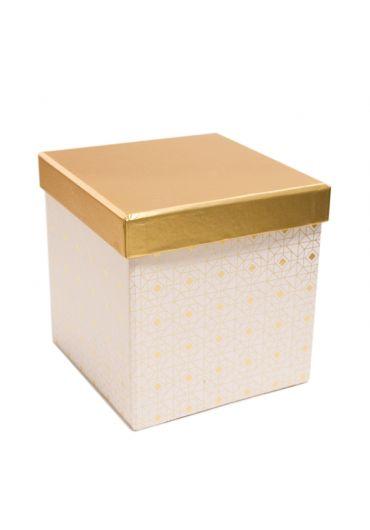 Cutie cadou patrata 13x13 cm, capac auriu, Blanc