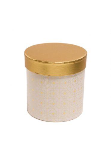 Cutie cadou cilindrica 12x12 cm, capac auriu, Blanc