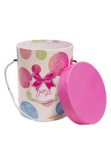 Cutie cadou cilindrica cu snur 14.5x18 cm, capac roz, Just for You