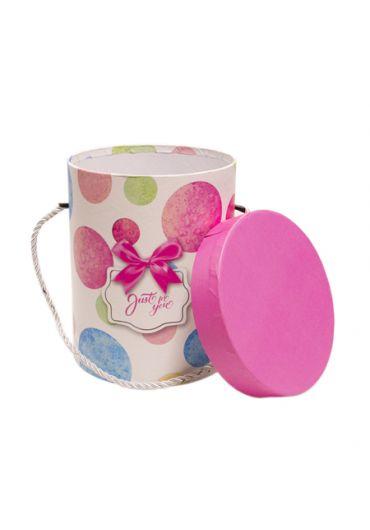 Cutie cadou cilindrica cu snur 12x15.5 cm, capac roz, Just for You