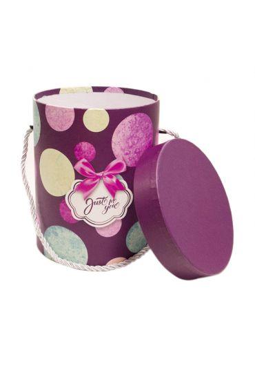 Cutie cadou cilindrica cu snur 12x15.5 cm, capac mov, Just for You