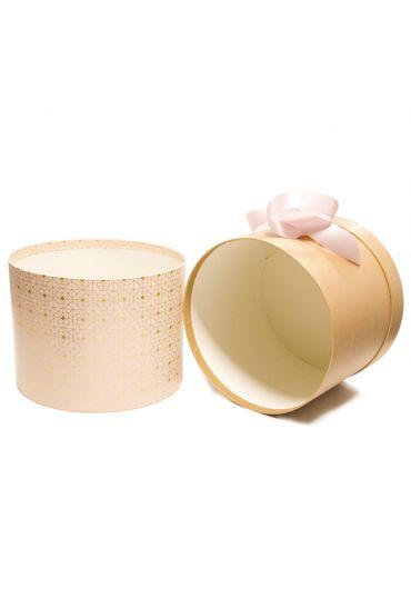 Cutie cadou cilindrica cu panglica satinata 20x19 cm Golden