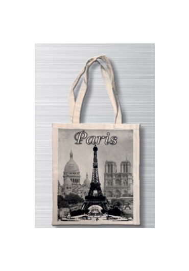Plasa bumbac - Noir Blanc - Paris Trois Monuments