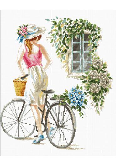 Set goblen imprimat cu ata si ac – Fata cu bicicleta