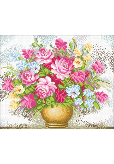 Set goblen imprimat cu ata si ac - Vaza cu flori