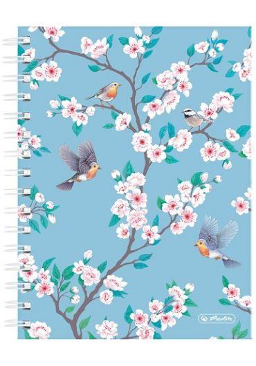 Caiet A5 cu spira dubla 100 file matematica, motiv Ladylike Birds