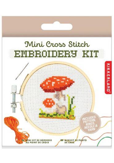 Set de brodat - Mini Cross Stitch Embroidery kit Mushroom