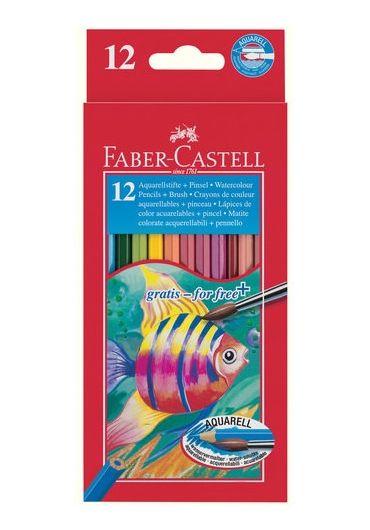 Creioane colorate Acuarela 12 culori + pensula