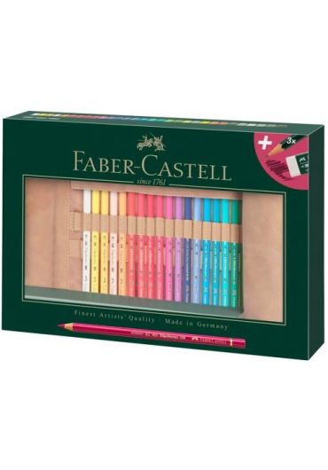 Creioane colorate 30 culori Rollup Polychromos + 3 creioane + radiera