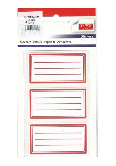 Etichete scolare 12/set 5002 Rosu