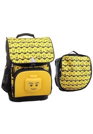 Ghiozdan scoala Optimo cu sac sport Lego Core Line - Minifigures Heads