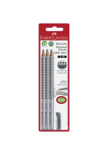 Blister 3 buc creion grafit B grip+radiera capac