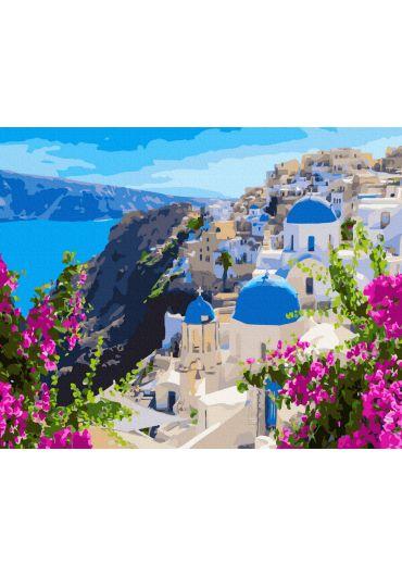 Set Picturi pe numere, Acuarello, 50X65 cm - Santorini Greece