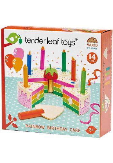 Jucarie - Tort pentru aniversari, din lemn, 14 piese - Rainbow Birthday Cake