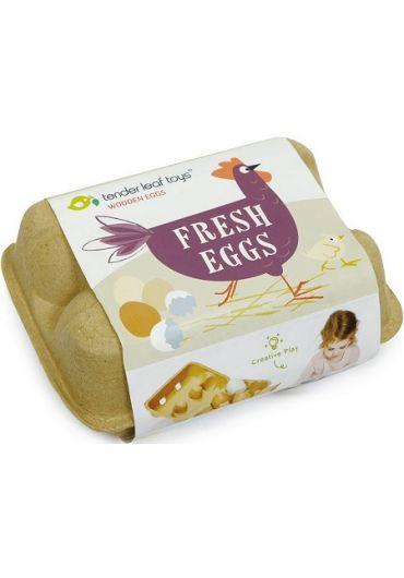 Jucarie - Cofraj cu oua din lemn, 7 piese - Fresh Eggs