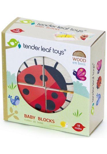 Puzzle educativ - Cuburi ilustrate din lemn, 5 piese - Baby Blocks