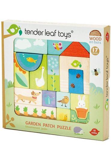 Puzzle educativ - Ilustratii din gradina, din lemn, 17 piese - Garden Patch